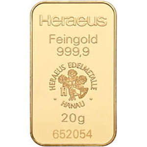 heraeus 20g gold bar