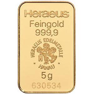 heraeus 5g gold bar