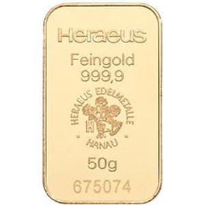 heraeus 50g gold bar
