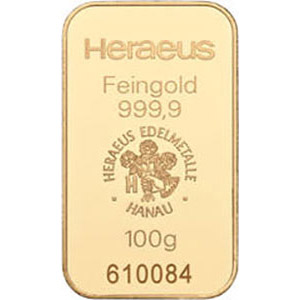heraeus 100g gold bar