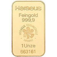 heraeus 1 oz gold bar