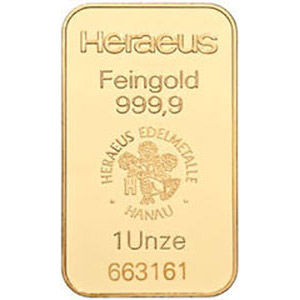 heraeus 1 oz gold bar