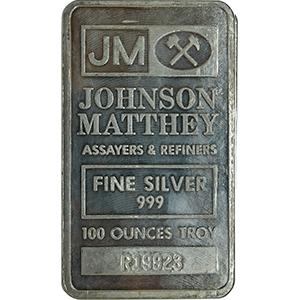 100 oz Johnson Matthey Silver Bar