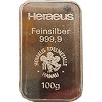 heraeus 100g silver bar