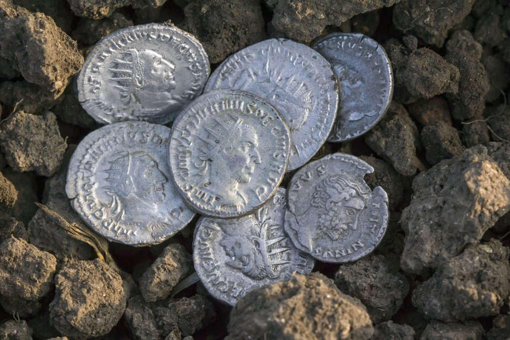 Roman Silver Coins Covered In Dirt