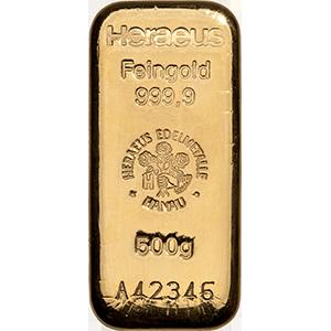 heraeus 500g gold bar