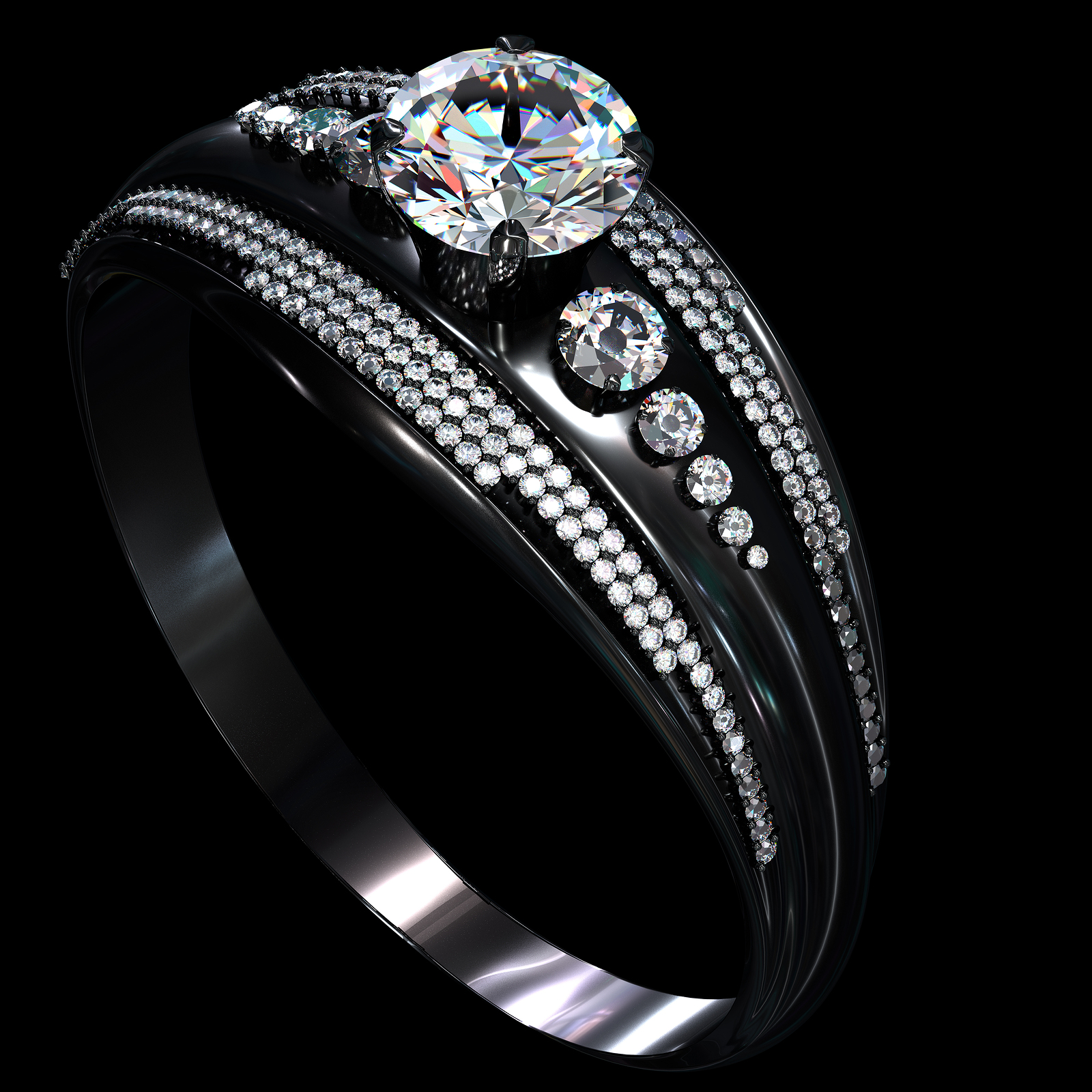 Black gold engagement ring with diamond gem.