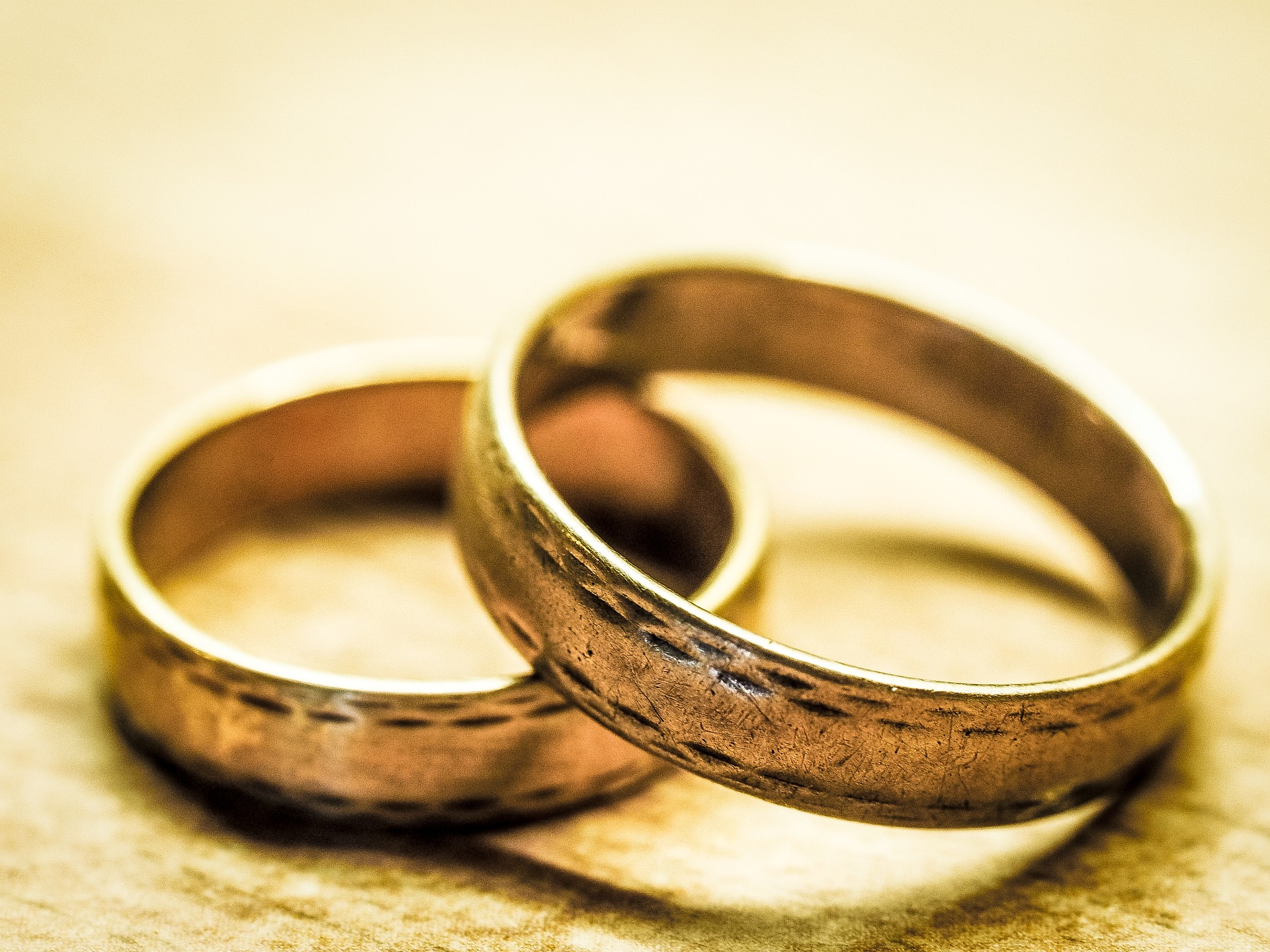 Pair of gold wedding rings