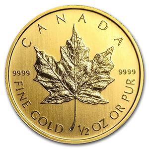 canada maple leaf gold coin 1/2 oz