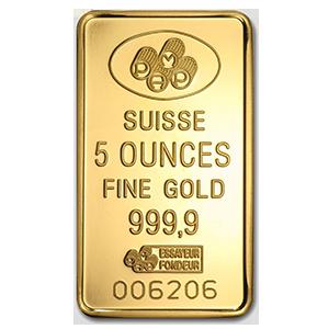 suisse 5 oz gold bar